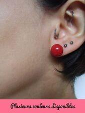 Boucles d'oreilles perles billes boules de couleur colorees plastique pinup