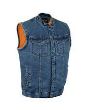 Men SOA Denim Club Vest Black  w/ Gun Pocket, Snap/ Zipper Front