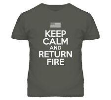Keep Calm And Return Fire USA Milatary 2nd Amendment T Shirt