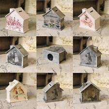Spardose Häuschen 10,5x5,5x10cm Sparbüchse Haus Handarbeit Holz Büchse Sparbox