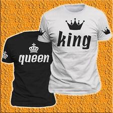 T-SHIRT UOMO DONNA KING QUEEN corone davanti MAGLIETTE San Valentino Matrimonio