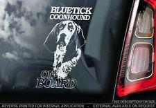 Bluetick Coonhound on Board - Car Window Sticker - Dog Bumper Decal Sign - V01