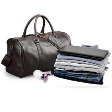 Dark Brown Weekend Holdall Duffle Sports Travel Gym Tote Bag Premium Leather