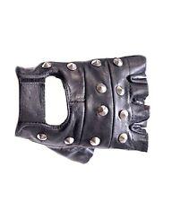 Genuine Leather Black Leather Fingerless Mens Studded Gloves XS- XL