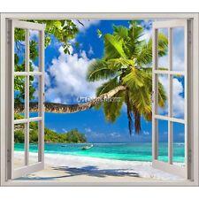 Sticker fenêtre trompe l'oeil  Plage palmier réf 5441 5441