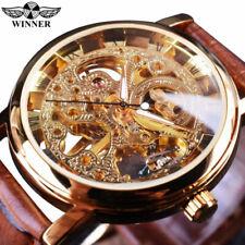 Mens gagnant or luxe Vintage cuir bracelet mécanique squelette montre-bracelet