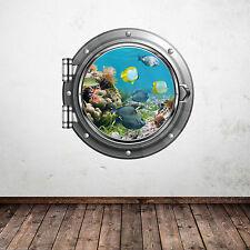 Colori Acquario Pesce Tropicale Mare oblò Adesivo Muro Bagno Decalcomania WSD339