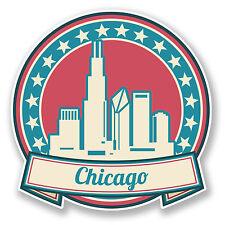 2 x 10cm Chicago Illinois USA America Sticker Car Laptop Travel Luggage #6747