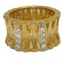 Anillo Baño Oro Amarillo Swarovski Piedra Banda Ancha Calidad Joyería Cristal 8