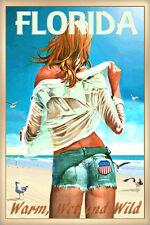 Florida New Beach Poster Pin Up Jeans Shorts Hot Girl Seagulls Art Print 267