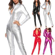 Patent Leather Jumpsuit Romper Bodysuit Women's Ladies Bodycon Motor Cubwear