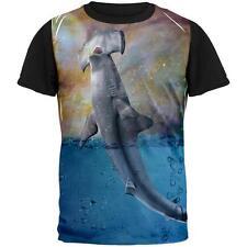 Hammer Head Space Shark Breaching Adult Black Back T-Shirt