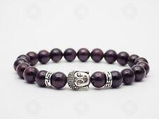 Mens Blood Garnet Jasper Buddha Bracelet Stone Crystal Tibetan Mala Love Gift UK