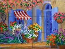 Ceramic Tile Mural Backsplash Senkarik Floral Courtyard Art MSA186