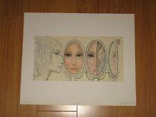 "Vintage Margaret Keane print  ""Many Views"" 1962 - big eyes & face reflections"