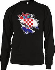 Croatia Shred Flag Croatian Pride Hrvatska Zastava Ponosa Long Sleeve Thermal
