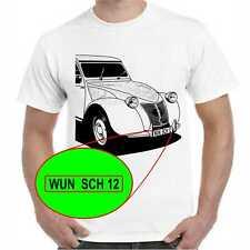 T-Shirt Citroen ENTE 2CV Citroën mit oder ohne Wunschtext Nummernschild