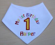 Personalised 1st First Birthday Dribble Bandana Bib  choose colour