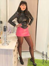 Lederrock Leder Rock Pink Mini Hüftrock Schlitz Größe 32 - 58 XS - XXXL