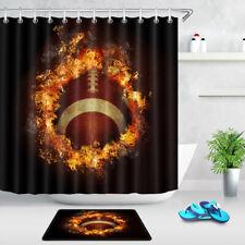 American Football Fire Flame Black Fabric Shower Curtain Hook Bathroom Decor Mat