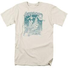 Aquaman Riding Seahorse Catching a Wave Trident DC Comics Tee Shirt S-3XL