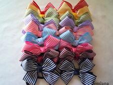 Jemlana's handmade stripe ribbon hair clips or hair ties for school girls...