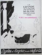 PUBLICITE LA GRANDE MAISON DE BLANC POUSSETTE BEBE LAYETTE DE 1925 FRENCH AD PUB