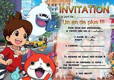 5 - 12 ou 14 cartes invitation anniversaire Yo-kai watch REF 347