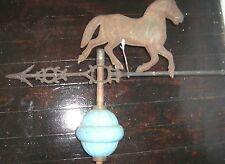 WEATHERVANE  HORSE WC SHINN BLUE miik  glass GLOBE ANTIQUE  LIGHTNING ROD
