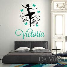 Personalized Name Ballet Ballerina Butterflies Flower Dance Vinyl Decal Sticker