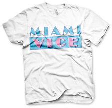 Miami Vice Distressed Logo 80s Tv Serie T-Shirt Männer Men Weiss White