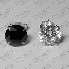Genuine 925 Sterling Silver Simulated Lab Diamond Round Stud Earrings Men Women
