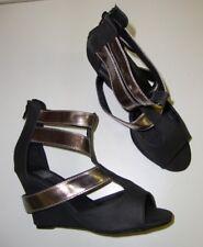 Blend 2053-10 Sandali donna con tacco a zeppa tacchi alti marrone argento