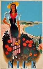 Nice France  art Vintage Illustrated Travel Poster Print  Glass Frame 90cm
