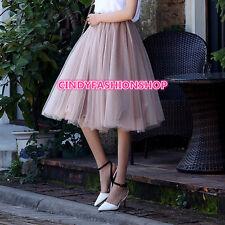 New Women High Waist Pleated Skirt Gauze Tutu Skirts Knee Length Ball Gown