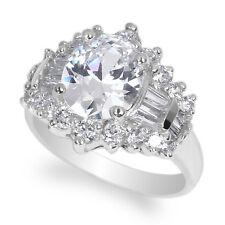 JamesJenny Ladies 10K White Gold 3.0ct Oval CZ Beautiful Luxury Ring Size 5-10