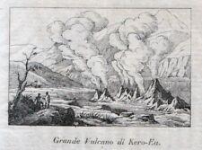 Stampa antica Vulcano di Kero-Ea HAWAI U.S.A 1839 Old print Engraving