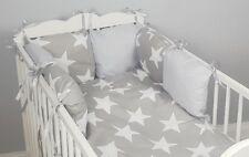 8 pc cot /cot bed bedding sets PILLOW BUMPER + CASES grey big stars duvet cover