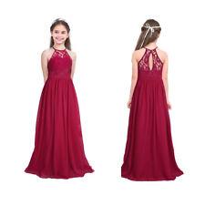 Blumen-Mädchen Chiffon Spitze Kleid Dress Abendkleid Cocktailkleid Lang Weinrot