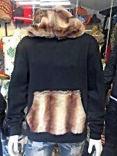 Men's Fashion Black Fur Hoodie