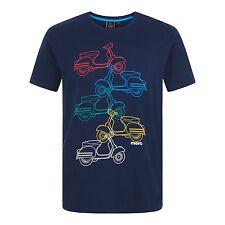 Hombre Merc London Retro MOD VESPA Camiseta - Rowan Azul Marino