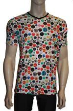 homme Mignon Coloré BOUTONS IMPRIMÉ COL V MODE FUNKY Haut T-shirt