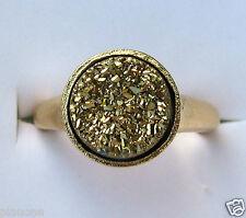 10mm Round Gold Druzy Quartz Ring 14k Satin Gold over Bronze Multiple Sizes