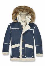 Brand New Men's Coat Jordan Craig Shearling Winter Faux Fur Jacket -Navy / White