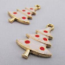 2373 3 Stück Emaille 13x11mm Legierung Anhänger Wolke Gesicht Gold Elfenbein