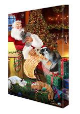 Persian Cats and Kittens Sleeping with Santa Canvas Wall Art