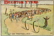 PLAQUE ALU DECO AFFICHE BEESTON TYRES PNEU VELO GO BY THEMSELVES 1896