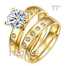 TT 14K GP Sparkling Multi-CZ Stainless Steel Engagement Wedding Band Ring Set
