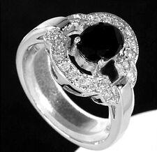 925 ECHT SILBER RHODINIERT *** Ring, Zirkonia schwarz und weiß
