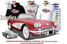 58 CORVETTE STINGRAY HOODIE ILLUSTRATED CLASSIC RETRO MUSCLE CAR